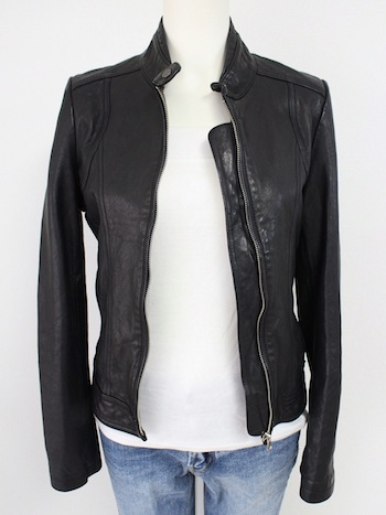 NO COLLAR LEATHER JACKET
