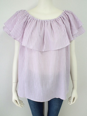2WAY STRIPE FRILL BLOUSE2