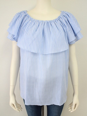 2WAY STRIPE FRILL BLOUSE1