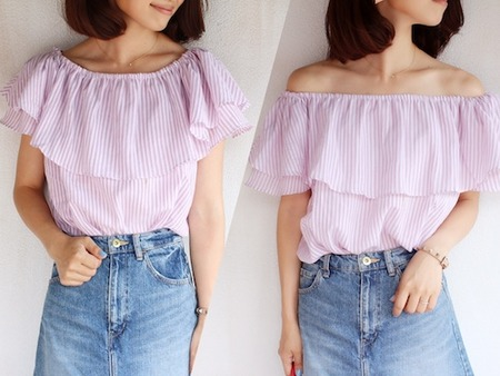2WAY STRIPE FRILL BLOUSE5